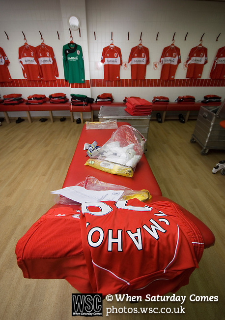 Middlesbrough 0 Wigan Athletic 0, 21/02/2009. The Riverside Stadium, Middlesbrough. Premier League. Photo by Paul Thompson. Middlesbrough Kit Manager Alex Smith, a former Boro player, laying out kit in the home dressing room before the match.