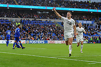 Sam Vokes of Burnley celebrates scoring his side's second goal during the Premier League match between Cardiff City and Burnley at Cardiff City Stadium in Cardiff, Wales, UK. Sunday 30 September 2018