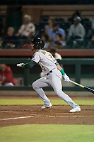 Mesa Solar Sox left fielder Luis Barrera (7), of the Oakland Athletics organization, follows through on his swing during an Arizona Fall League game against the Scottsdale Scorpions on October 9, 2018 at Scottsdale Stadium in Scottsdale, Arizona. The Solar Sox defeated the Scorpions 4-3. (Zachary Lucy/Four Seam Images)