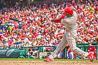 15 September 2013: Philadelphia Phillies outfielder Roger Bernadina breaks his bat with a double in the 7th inning against the Washington Nationals at Nationals Park in Washington, DC. The Nationals took the rubber match of their 3-game series 11-2 to keep Washington's wildcard hopes alive. Mandatory Credit: Ed Wolfstein Photo *** RAW (NEF) Image File Available ***