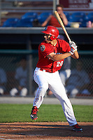 Auburn Doubledays first baseman Ryan Ripken (20) at bat during a game against the Mahoning Valley Scrappers on June 19, 2016 at Falcon Park in Auburn, New York.  Mahoning Valley defeated Auburn 14-3.  (Mike Janes/Four Seam Images)
