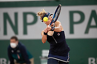 29th September 2020, Roland Garros, Paris, France; French Open tennis, Roland Garros 2020;  Laura SIEGEMUND GER plays a backhand during her match against Kristina MLADENOVIC FRA in the Philippe Chatrier court on the first round of the French Open