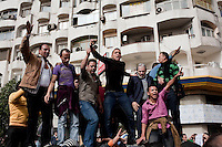 Protesters celebrate in the streets around central Cairo. Continued anti-government protests take place in Cairo calling for President Mubarak to stand down. After dissolving the government, Mubarak still refuses to step down from power. .