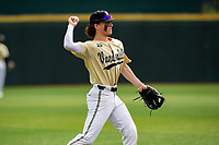 Vanderbilt Commodores shortstop Carter Young (9) in action against the Tennessee Volunteers on Robert M. Lindsay Field at Lindsey Nelson Stadium on April 17, 2021, in Knoxville, Tennessee. (Danny Parker/Four Seam Images)