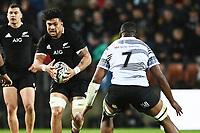 17th July 2021; Hamilton, New Zealand;  Ardie Savea runs into contact with Kunavula (Fij) . All Blacks versus Fiji, Steinlager Series, international rugby union test match. FMG Stadium Waikato, Hamilton, New Zealand.