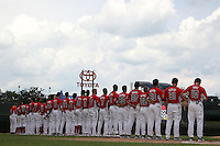 National team on the foul line for the national anthem during the Under Armour All-American Game at Wrigley Field on August 13, 2011 in Chicago, Illinois.  (Mike Janes/Four Seam Images)