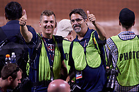 Minnesota Twins team photographer Brace Hemmelgarn and Detroit Tigers team photographer Mark Cunningham after the MLB All-Star Game on July 14, 2015 at Great American Ball Park in Cincinnati, Ohio.  (Mike Janes/Four Seam Images)