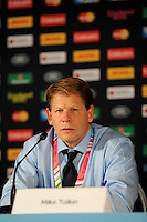 Mike Tolkin, USA Head Coach, speaks to the media after  Match 18 of the Rugby World Cup 2015 between Scotland and USA - 27/09/2015 - Elland Road, Leeds<br /> Mandatory Credit: Rob Munro/Stewart Communications