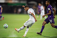 LAKE BUENA VISTA, FL - JULY 31: Eddie Segura #4 of LAFC kicks the ball during a game between Orlando City SC and Los Angeles FC at ESPN Wide World of Sports on July 31, 2020 in Lake Buena Vista, Florida.