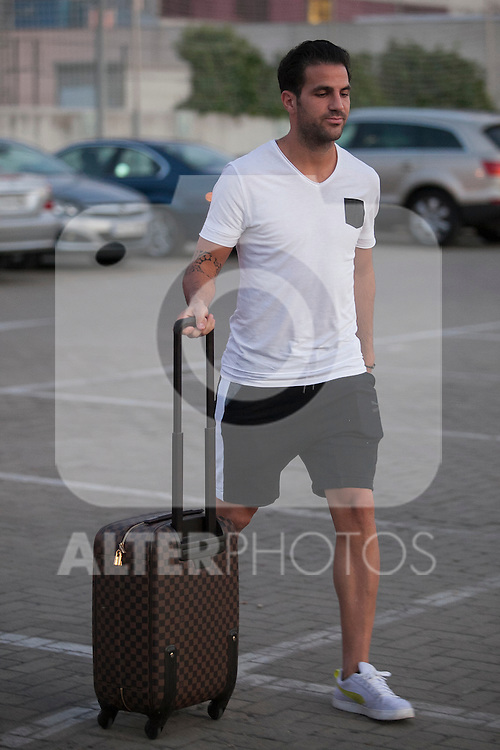 Cesc Fabregas arrives at Soccer City training facility for a Spanish soccer team concentration meeting in Las Rozas, near Madrid, Spain. September  01, 2015. (ALTERPHOTOS/Victor Blanco)
