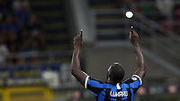 Calcio, Serie A: Inter Milano - Lecce, Giuseppe Meazza stadium, September 26 agosto 2019.<br /> Inter's Romelu Lukaku celebrates after scoring during the Italian Serie A football match between Inter and Lecce at Giuseppe Meazza (San Siro) stadium, September August 26,, 2019.<br /> UPDATE IMAGES PRESS/Isabella Bonotto