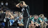 Handball 2. Bundesliga Herren - SC DHfK gegen HC Erlangen am 05.11.2013 in Leipzig (Sachsen). <br /> IM BILD: DHfK Trainer Christian Prokop schlägt die Hände über dem Kopf zusammen <br /> Foto: Christian Nitsche