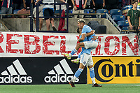 FOXBOROUGH, MA - SEPTEMBER 11: Santiago Rodriguez #42 of New York City FC celebrates his goal with teammates during a game between New York City FC and New England Revolution at Gillette Stadium on September 11, 2021 in Foxborough, Massachusetts.