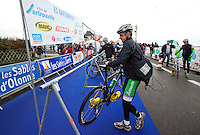 28 APR 2012 - LES SABLES D'OLONNE, FRA - Jonathan Brownlee (E.C.Sartrouville Triathlon) racks his bike in transition ahead of the prologue round of the French Grand Prix Series triathlon in Les Sables d'Olonne, France (PHOTO (C) 2012 NIGEL FARROW)