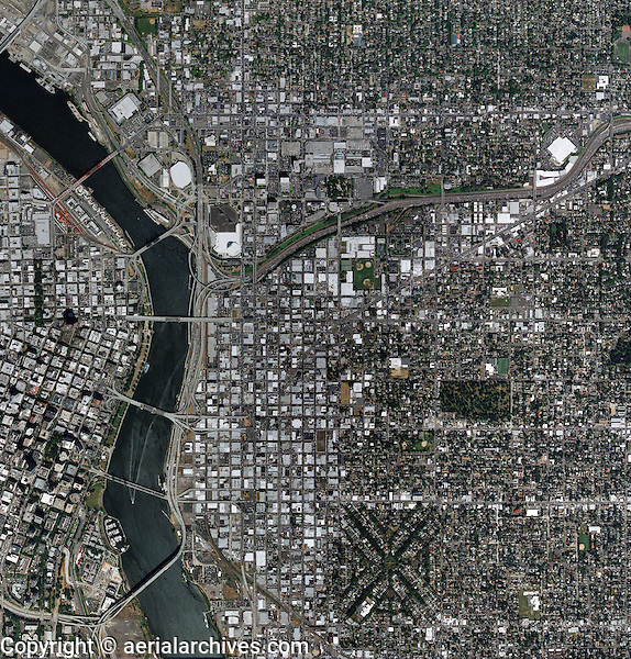 aerial map above Portland Oregon