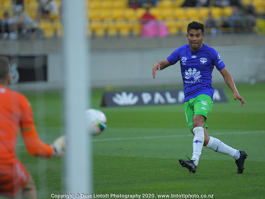 Ulises Davila shoots for goal during the A-League football match between Wellington Phoenix and Western United FC at Sky Stadium in Wellington, New Zealand on Friday, 21 February 2020. Photo: Dave Lintott / lintottphoto.co.nz