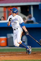 Ryan Wood #23 of the Burlington Royals follows through on his swing versus the Kingsport Mets at Burlington Athletic Park July 3, 2009 in Burlington, North Carolina. (Photo by Brian Westerholt / Four Seam Images)