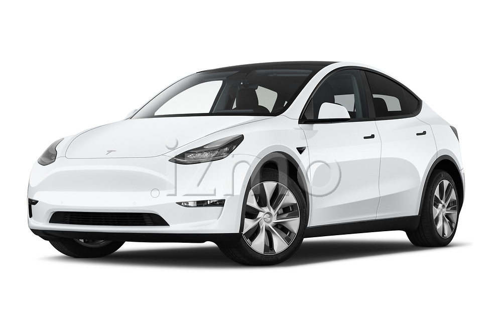 Stock pictures of low aggressive front three quarter view of 2021 Tesla Model-Y Long-Range-AWD 5 Door SUV Low Aggressive