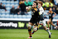 Photo: Richard Lane/Richard Lane Photography. Wasps v Cardiff Blues. LV= Cup. 01/02/2015. Wasps' Guy Thompson breaks for a try.
