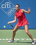 July 31,2017:  Aryna Sabalenka (BLR) battles against Lauren Davis (USA), winning the first set 7-5, at the Citi Open being played at Rock Creek Park Tennis Center in Washington, DC, .  ©Leslie Billman/Tennisclix/Cal Sport Media