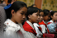 "Children of the privileged at the Children's Palace and School, Pyongyang North Korea. North Korea is one of the last great dictatorships where, ""Dear Leader"" Kim-Jong-il and his father Kim Il-sung ""Great Leader"" are worshipped and there is complete control of a people who are constantly reminded of the evil deeds of the west and USA."