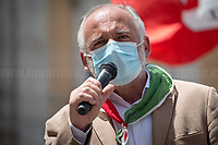 """Fabrizio De Sanctis (President of Rome's branch of ANPI).<br /> <br /> Rome, Italy. 29th May, 2021. Italian Antifascist organizations, Antifascist political parties, Trade Unions, Palestinian Community of Rome, WWII Partizans, citizens, led by ANPI (National Association of Italian Partizans, Members of the WWII Italian Resistance, 1.), held an emergency rally against a fascist demo held in a Central-Rome-nearby-square which was authorized by State Institutions with no regard for the Italian Antifascist Constitution and all the Victims of nazi and fascist regimes, including all the Victims of nazi and fascist concentration camps. From the ANPI press release: «The Anti-fascist associations of the Italian Resistance and the Liberation Struggle, with political, trade union and organizations, express indignation at the national demo promoted in Rome in Piazza SS Apostoli on May 29, 2021 by Casapound, launched using shamelessly nazi slogans such as that of """"blood and soil"""", referring to the same words of Hitler, Himmler and Goebbels to build the ideal foundation of the Shoah. The carrying out of the national demo of a declared fascist organization constitutes a very serious outrage to the founding values of the [Italian] Democratic Republic and to the principles enshrined in the Constitution born of anti-fascism, the Resistance and the Liberation Struggle, as well as a clear violation of the laws prohibiting propaganda and the reconstitution of the fascist party. We recall the memory of the victims and fallen in the fight against fascism that has bloodied this country and this city, Gold Medal for Military Valor (2.) for the facts of the Resistance awarded in July 2018 by the President of the Republic, in addition to that of the long trail of black [fascist] massacres that happened in the life of the [Italian] Republic, from Piazza Fontana, to Italicus [train], to Brescia, to Bologna station […]».<br /> <br /> 1. http://www.anpi.it<br /> 2. http://bit.do/fQV4s"""