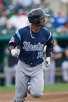 Corpus Christi Hooks outfielder Teoscar Hernandez (15) jogs around first base after his first home run in the Texas League baseball game against the San Antonio Missions on May 10, 2015 at Nelson Wolff Stadium in San Antonio, Texas. The Missions defeated the Hooks 6-5. (Andrew Woolley/Four Seam Images)