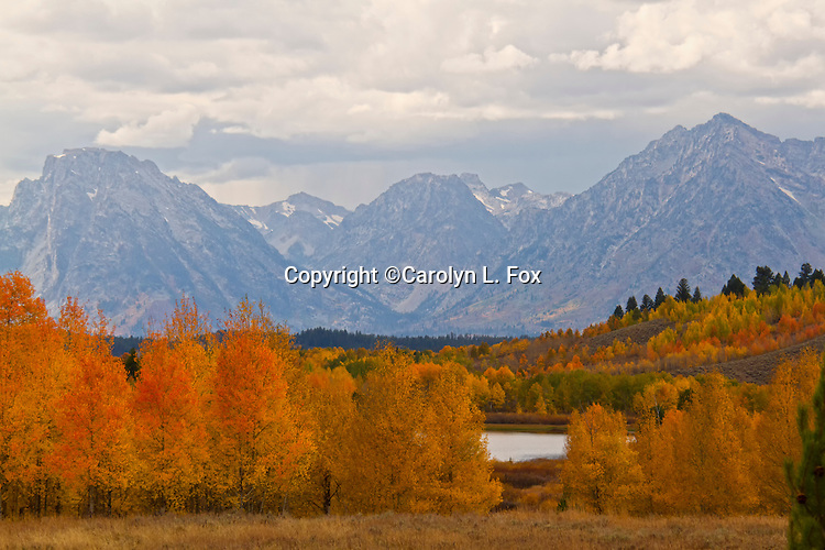 Fall colors enhance the scenery at Mount Moran in Grand Teton National Park in Wyoming.