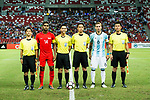 Hariss Harun of Singapore #14 and Lucas Biglia of Argentina #6 poses for official photo with referees during the International Test match between Argentina and Singapore at National Stadium on June 13, 2017 in Singapore. Photo by Marcio Rodrigo Machado / Power Sport Images