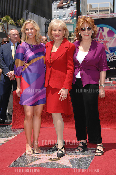 """Barbara Walters (centre) with her """"The View"""" co-hosts Elizabeth Hasselbeck (left) & Joy Behar on Hollywood Boulevard where Walters was honored with the 2,340th star on the Hollywood Walk of Fame..June 14, 2007  Los Angeles, CA.Picture: Paul Smith / Featureflash"""