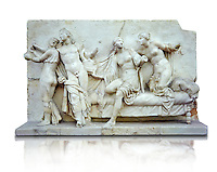 Roman marble relief sculpture known as  Alcibiades and Etere, Franeses Collection, Roman copy of an earlier Greek Helenistic original , inv no 6688, Secret Museum or Secret Cabinet, Naples National Archaeological Museum, white background
