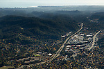 Urban sprawl encroaching on coniferous forest, Scotts Valley, California
