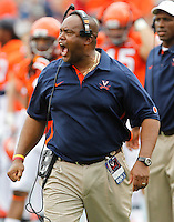 Virginia Cavaliers head coach Mike London reacts to a call during the first half of the NCAA football game against the Richmond Spiders Saturday September, 1, 2012 at Scott Stadium in Charlottesville, Va.