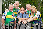 Sargeant Dermot O'Connell, Killarney Gardaí pictured with Dan McCarthy, Cathal Walshe, Brendan Coffey and Karina McCarthy, Ring of Kerry charity cycle committee, as they reminded cyclists to make sure they stayed safe on the charity cycle on Saturday. .. ...........................................