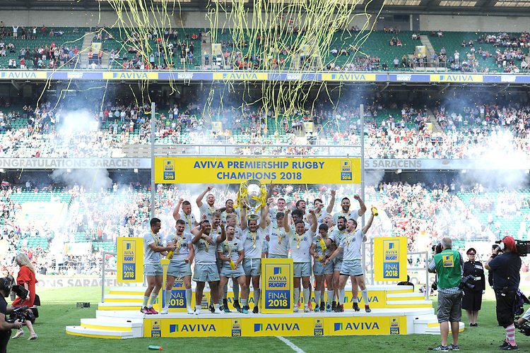 Saracens celebrate winning the Aviva Premiership Rugby Final between Exeter Chiefs and Saracens at Twickenham Stadium on Saturday 26th May 2018 (Photo by Rob Munro/Stewart Communications)