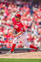 22 September 2013: Washington Nationals pitcher Dan Haren on the mound against the Miami Marlins at Nationals Park in Washington, DC. The Marlins defeated the Nationals 4-2 in the first game of their day/night double-header. Mandatory Credit: Ed Wolfstein Photo *** RAW (NEF) Image File Available ***