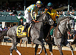 """October 05, 2019 : #5 Enforceable and jockey Florent Geroux in the 106th running of The Claiborne Breeders' Futurity Grade 1 $500,000 """"Win and You're In Breeders' Cup Juvenile Division"""" at Keeneland Racecourse in Lexington, KY on October 04, 2019.  Candice Chavez/ESW/CSM"""
