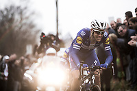 Niki Terpstra (NED/Quick-Step Floors) & Yves Lampaert (BEL/Quick Step Floors) leading the race up the Oude Kwaremont cobbles. <br /> <br /> 61th E3 Harelbeke 2018 (1.UWT)<br /> Harelbeke › Harelbeke - BEL (206km)