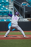 Luke Robinson (38) of the Western Carolina Catamounts at bat against the Kennesaw State Owls at Springs Brooks Stadium on February 22, 2020 in Conway, South Carolina. The Owls defeated the Catamounts 12-0.  (Brian Westerholt/Four Seam Images)
