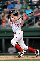 Third baseman Jantzen Witte (35) of the Greenville Drive bats in a game against the Asheville Tourists on Monday, April 21, 2014, at Fluor Field at the West End in Greenville, South Carolina. Greenville won, 8-3. (Tom Priddy/Four Seam Images)