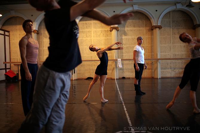 Ballet dancers rehearse in Ljubljana, Slovenia on Oct. 23, 2011.