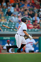 Indianapolis Indians catcher Jackson Williams (31) follows through on a swing during a game against the Rochester Red Wings on July 24, 2018 at Victory Field in Indianapolis, Indiana.  Rochester defeated Indianapolis 2-0.  (Mike Janes/Four Seam Images)