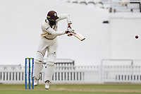 Hashim Amla of Surrey, plays off his hips square of the wicket during Surrey CCC vs Hampshire CCC, LV Insurance County Championship Group 2 Cricket at the Kia Oval on 30th April 2021