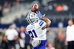 Dallas Cowboys running back Ezekiel Elliott (21) in action before the pre-season game between the Houston Texans and the Dallas Cowboys at the AT & T stadium in Arlington, Texas.