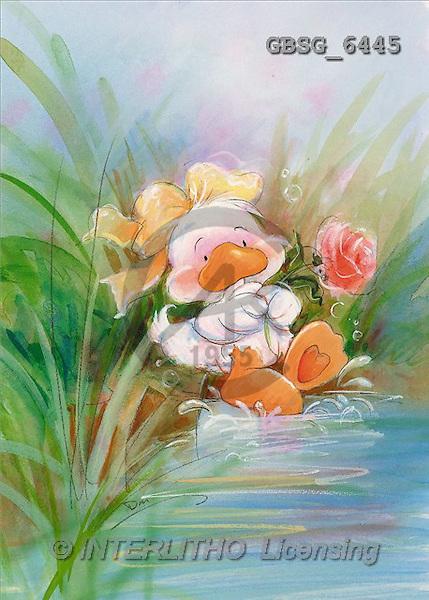 Ron, CUTE ANIMALS, Quacker, paintings, duck, rose(GBSG6445,#AC#) Enten, patos, illustrations, pinturas