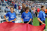 Saint Paul, MN - Tuesday September 03, 2019 : Flag holders prior to the USWNT 2019 Victory Tour match versus Portugal at Allianz Field, on September 03, 2019 in Saint Paul, Minnesota.