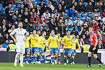 Sergio Ramos of Real Madrid reacts after Pedro Tanausu Tana of UD Las Palmas celebrates after scoring a goal  during the match of Spanish La Liga between Real Madrid and UD Las Palmas at  Santiago Bernabeu Stadium in Madrid, Spain. March 01, 2017. (ALTERPHOTOS / Rodrigo Jimenez)
