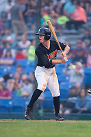 J.J. Muno (2) of the Great Falls Voyagers at bat against the Helena Brewers at Centene Stadium on August 18, 2017 in Helena, Montana.  The Voyagers defeated the Brewers 10-7.  (Brian Westerholt/Four Seam Images)