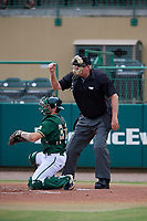 Home plate umpire Rick Darby calls a strike behind Tyler Dietrich (38) during a game between the Dartmouth Big Green and the USF Bulls on March 17, 2019 at USF Baseball Stadium in Tampa, Florida.  USF defeated Dartmouth 4-1.  (Mike Janes/Four Seam Images)