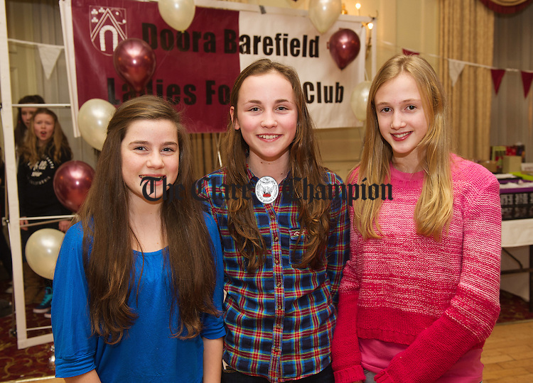 Aoise Meaney,Lily Rafferty and Laura Mc Donald at the Doora Barefield underage  ladies Football awards night in the Old Ground Hotel. Photograph  by John Kelly.